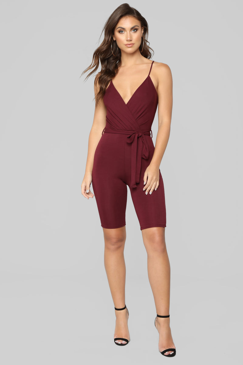 Ridin' Down The Block Romper - Burgundy