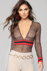 Tres Trendy Bodysuit - Brown
