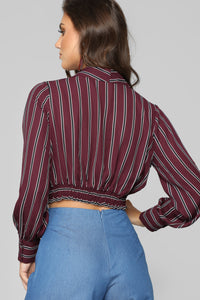 Prim And Proper Long Sleeve Top - Burgundy