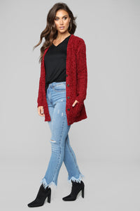 Girl Next Door Button Up Cardigan - Red