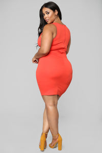 Distraction Cut Out Dress - Orange