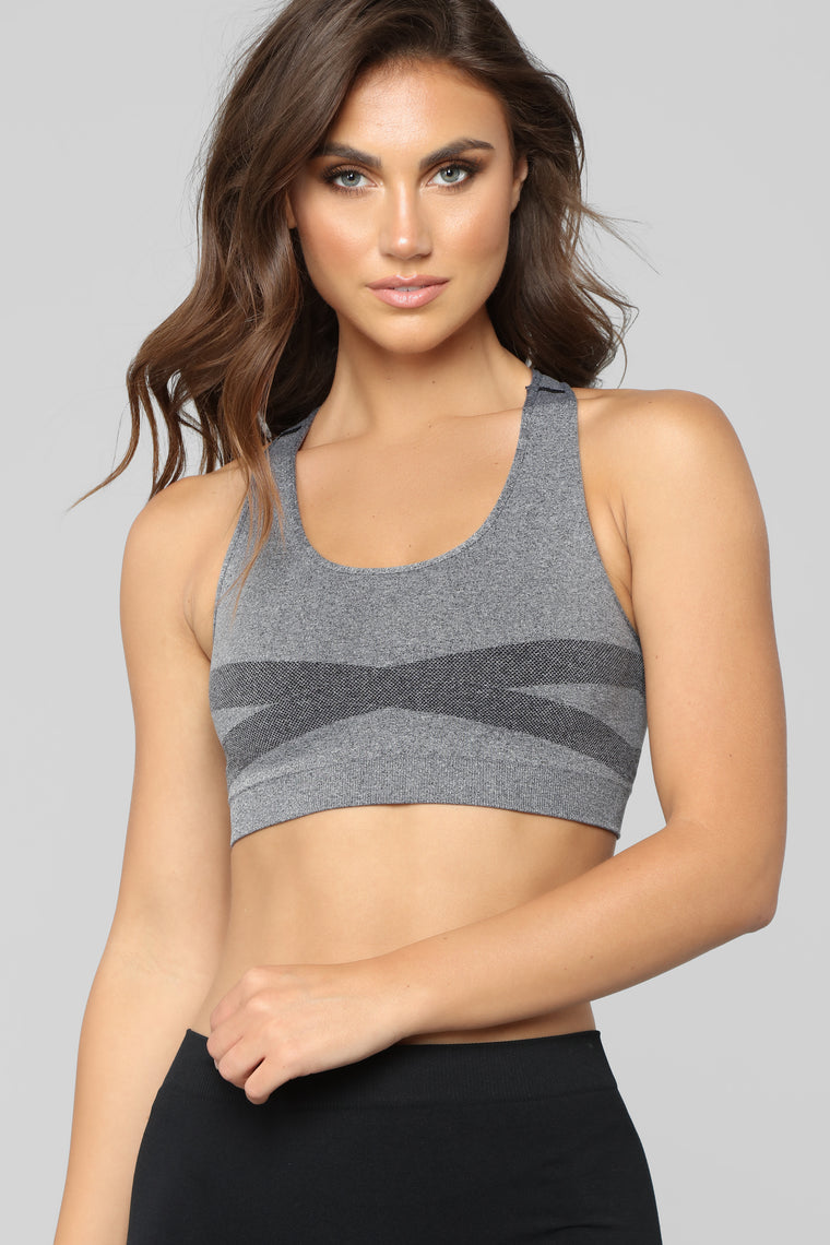 First Place Babe Sports Bra - Charcoal