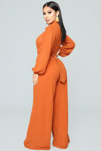 Like Me Better Jumpsuit - Cognac