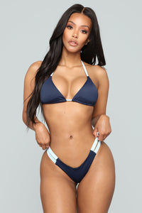Dive In The Water 4 Piece Bikini Set - Navy/Combo