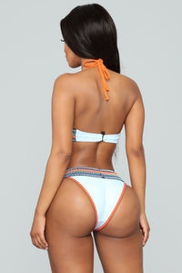 Laced With Sun 3 Piece Bikini Set - Blue/Combo