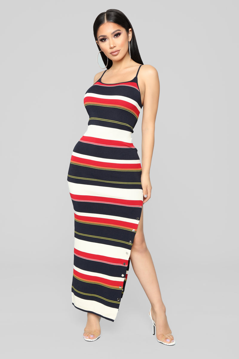 a41ab39cb8a Come Over Here Stripe Dress - Red Black