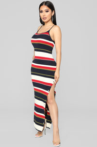 Come Over Here Stripe Dress - Red/Black