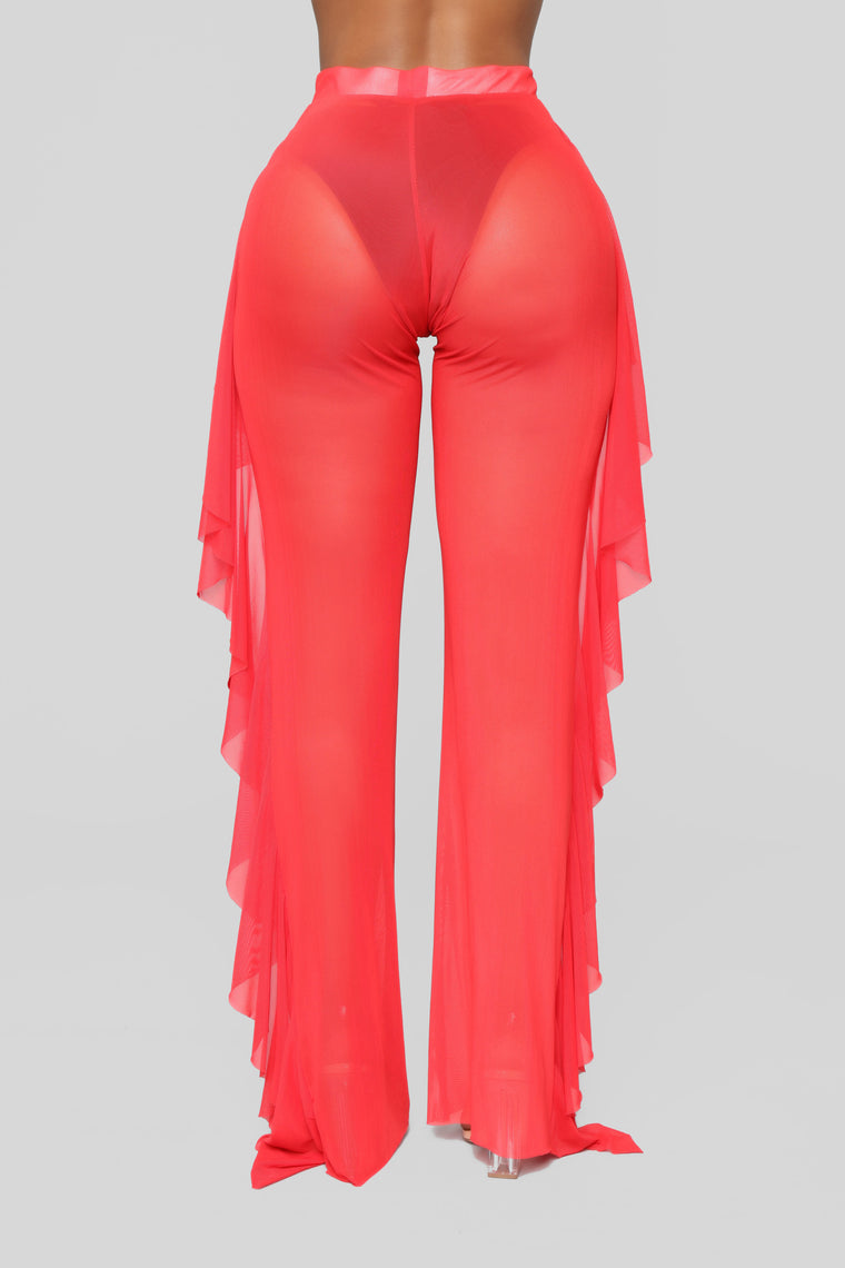 Sunshine See Through Cover Up Pant - Red