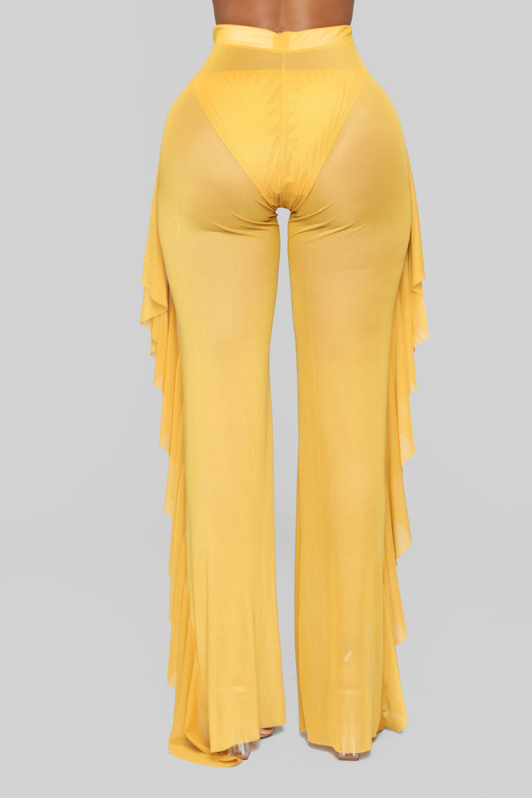 Sunshine See Through Cover Up Pant - Mustard