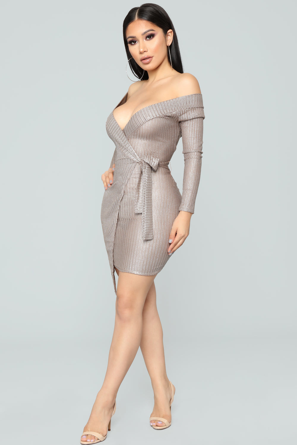 Around And About Metallic Dress - Mocha/Silver
