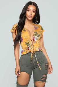 Talk Flowers To Me II Floral Top - Mustard