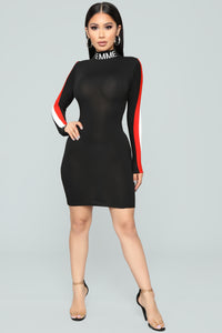 Femme Ain't Frail Knit Dress - Black/Red