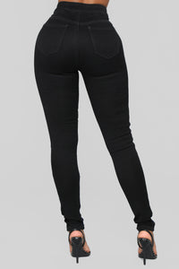 Open Heart Cutout High Rise Jeans - Black/Blue