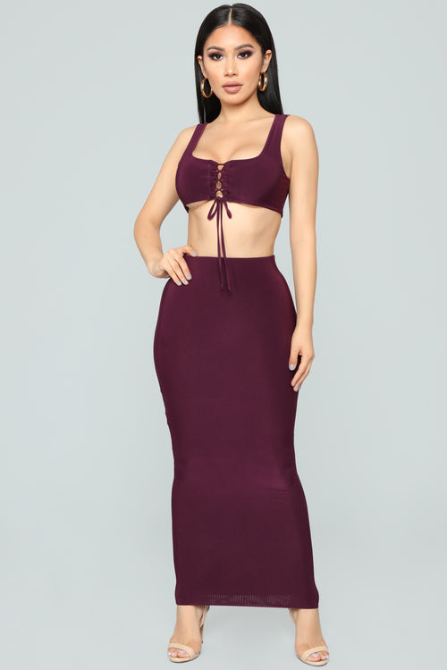 Lustrous Skirt Set - Plum