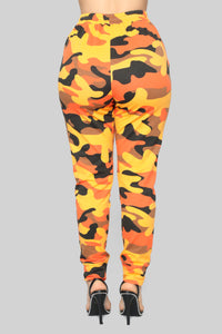 Jogging Away From You Lounge Set - Orange Camo