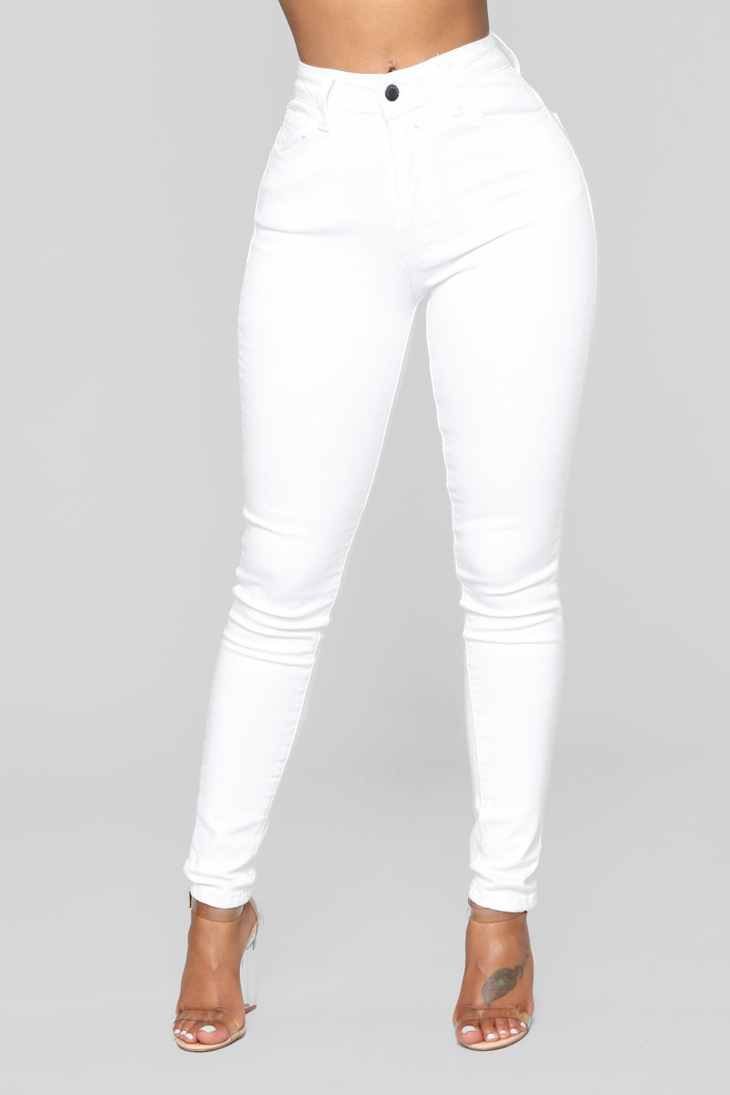 High Waisted Skinnies - White