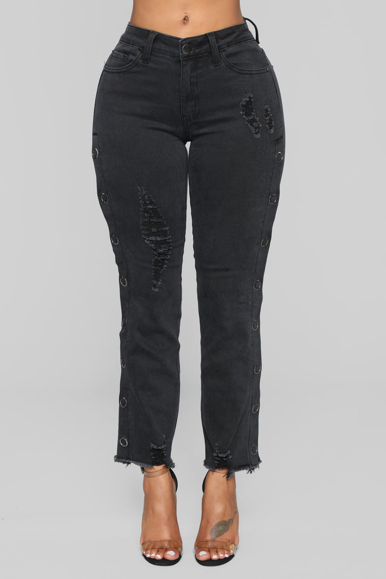 It's A Vibe Snap Button Jeans - Black
