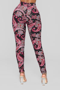 Paisley Print Leggings - Black/Pink