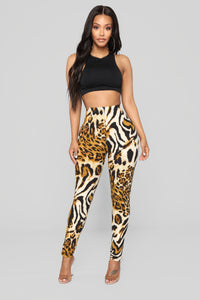 Sadie Print Leggings - Brown