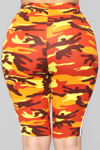 Camilla Camo Biker Short - Orange