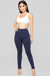 You Really Stretch It Stripe Leggings - Navy