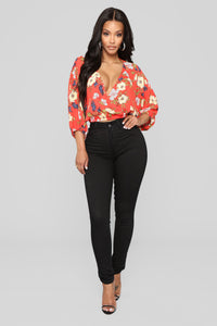 Flirty Floral Surplice Top - Red Combo