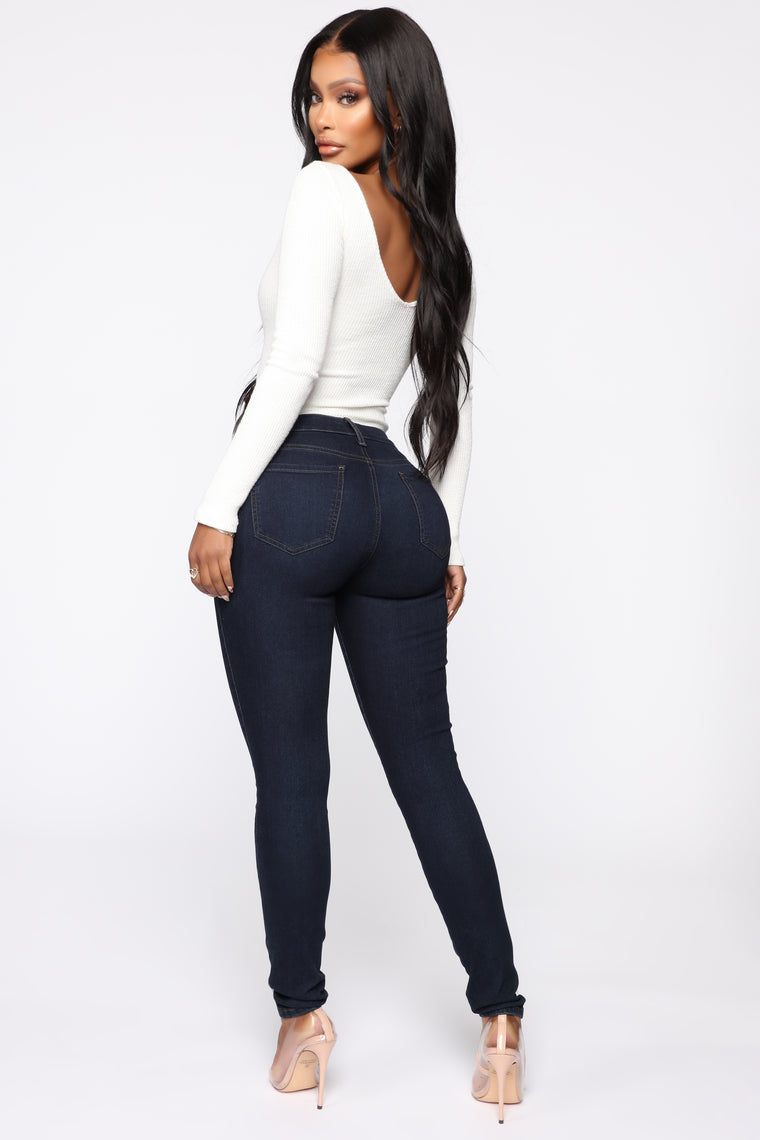 Flex Game Strong Mid Rise Skinny Jeans - Dark Blue Wash