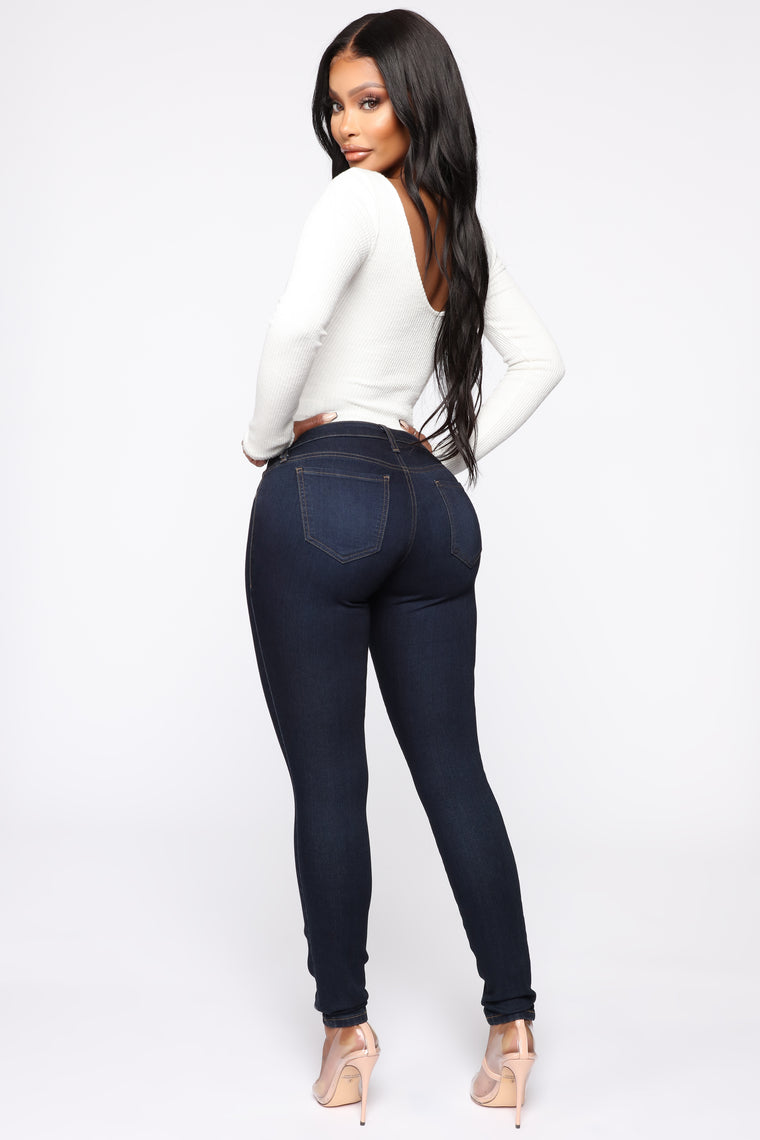 Flex Game Strong Low Rise Skinny Jeans - Dark Blue Wash