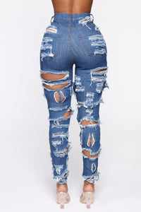 You're Cuttin' Up Distressed Skinny Jeans - Dark Blue Angle 6