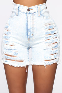 Not That Bad HR Distressed Shorts - Acid Wash