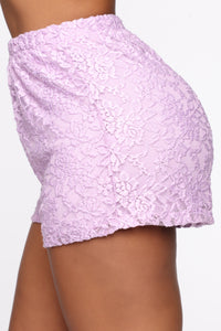 Sweet Love Laced Shorts - Lavender