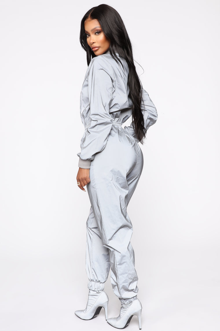 Contrast News Reflective Jumpsuit - Grey
