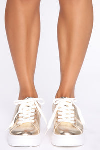Lace Me Up Sneakers - Gold