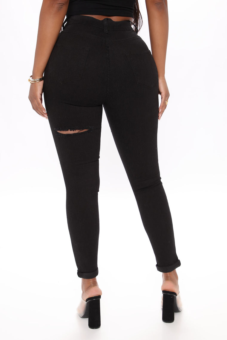 Open To New Things Distressed Skinny Jeans - Black