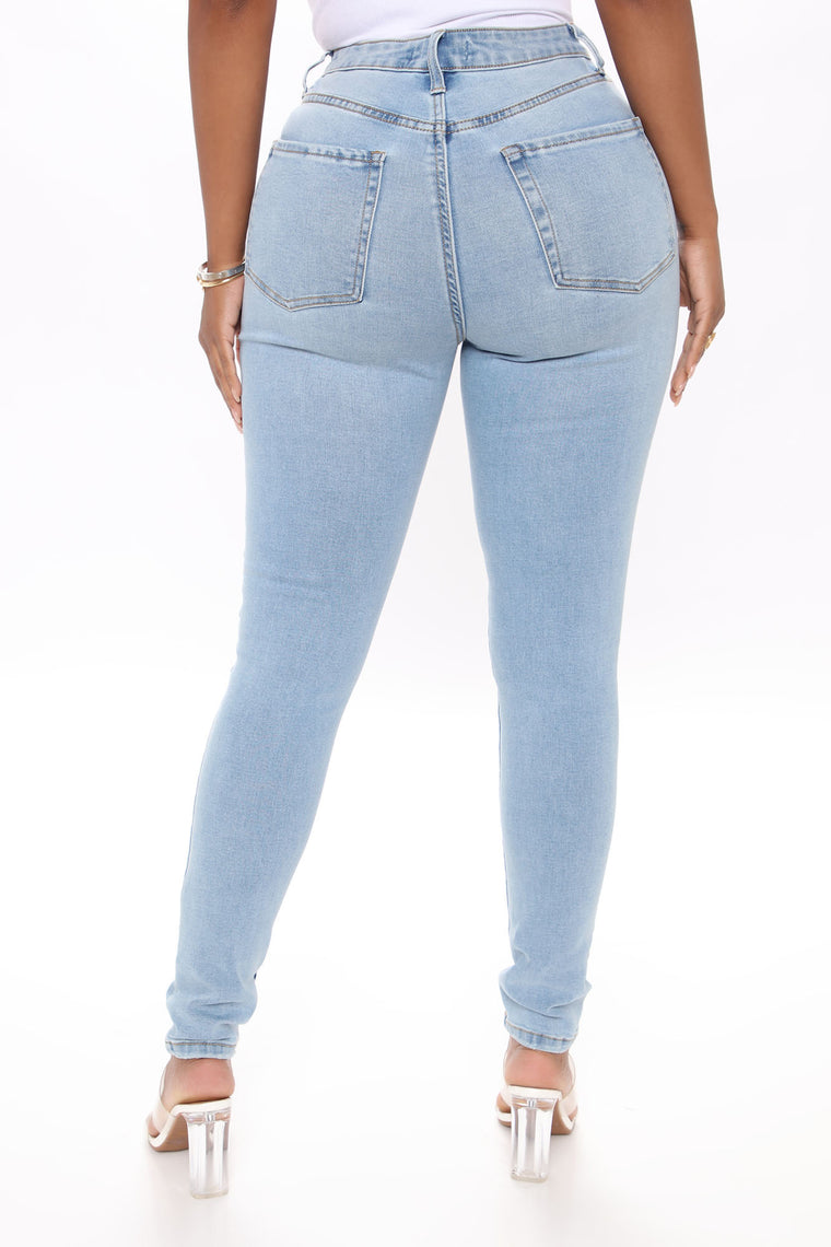 Love My Curves Distressed Skinny Jeans - Light Blue Wash