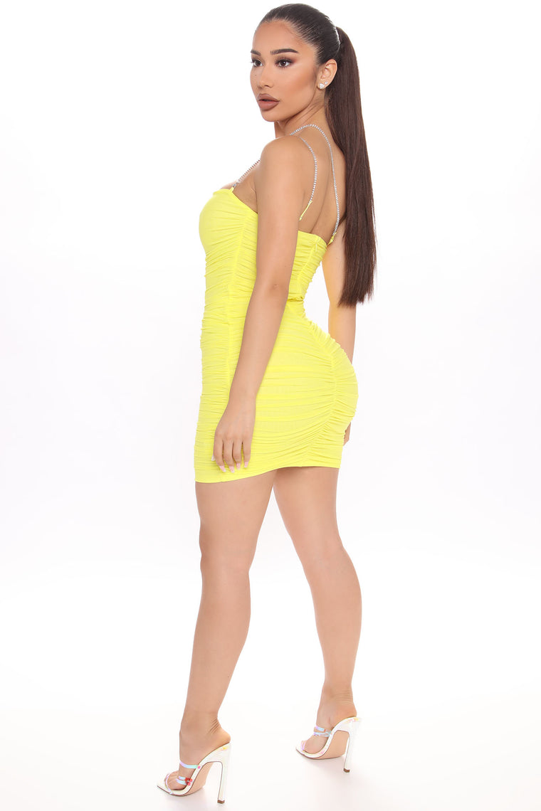 Center Of The Party Ruched Mini Dress - Yellow