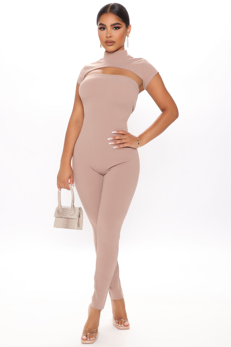 It's The Look Jumpsuit Set - Taupe