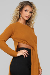 Jessica Tie Front Tunic Sweater - Mustard