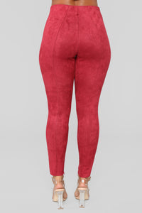 Soft To Touch Faux Suede Leggings - Red
