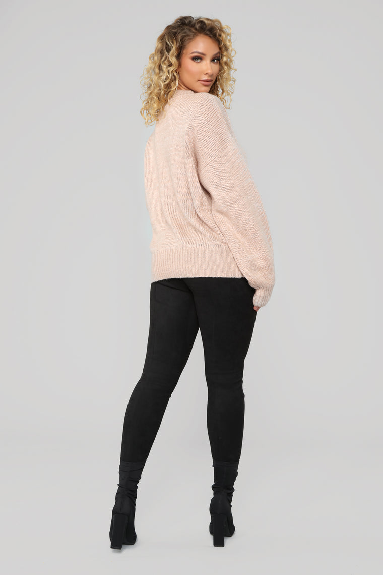 Cozy By The Fire Tunic Sweater - Pink