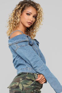 Make Way Denim Cold Shoulder Top - Medium Wash