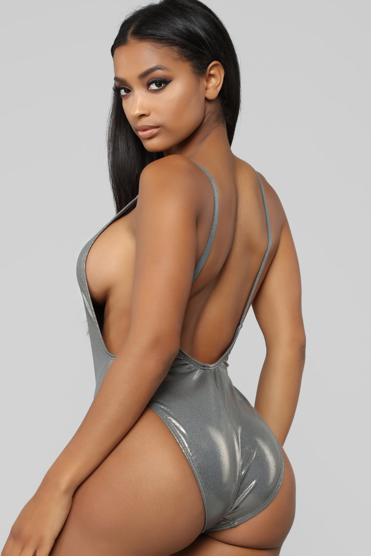Standout Metallic Swimsuit - Charcoal