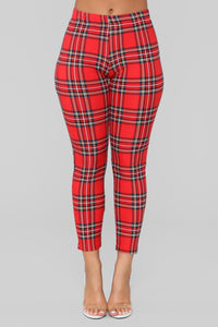 Dionne Tartan Plaid Leggings - Red