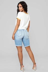 Summer Hustle Distressed Denim Bermudas - Medium Blue Wash