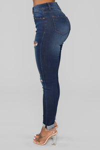 Layla High Waist Distressed Jeans - Dark Denim
