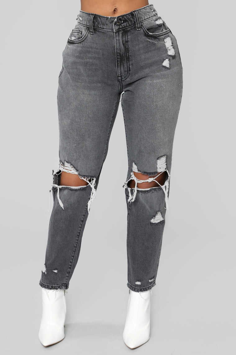 Mess Around Distressed High Rise Jeans - Black