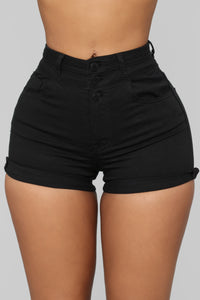 Unlimited High Rise Denim Shorts - Black