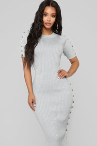 Snap Back At You Sweater Dress - Heather Grey