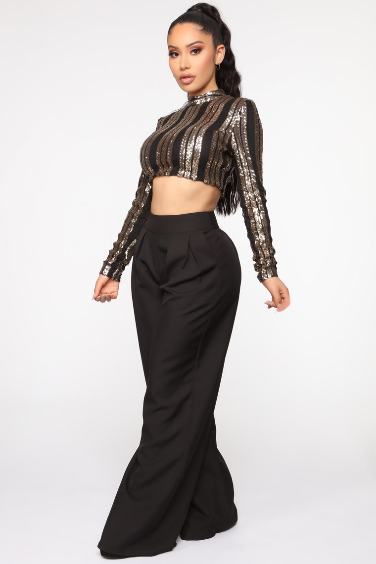 Keep Me In Your Glow Pant Set - Black/Gold