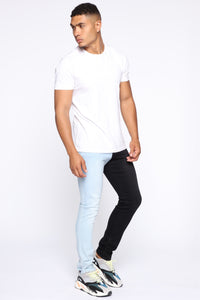 Two Tone Skinny Jeans - Black/combo